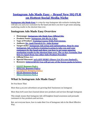 Instagram Ads Biz In A Box Review and GIANT $12700 Bonus-80% Discount