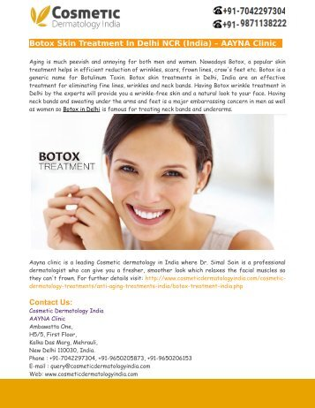 Botox Skin Treatment In Delhi NCR (India) – AAYNA Clinic