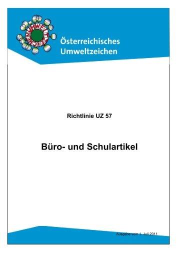 Richtlinie UZ 57 - Das Österreichische Umweltzeichen