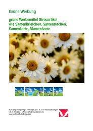 Grüne Werbung, Werbemittel-Streuartikel wie Samenbriefchen, Samenkarten