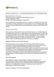 ebets promotion - Komplettanbieter für Werbeartikel - Firmendb