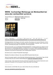 WERA hochwertige Werkzeuge als Werbeartikel bei ... - Fair-news.de