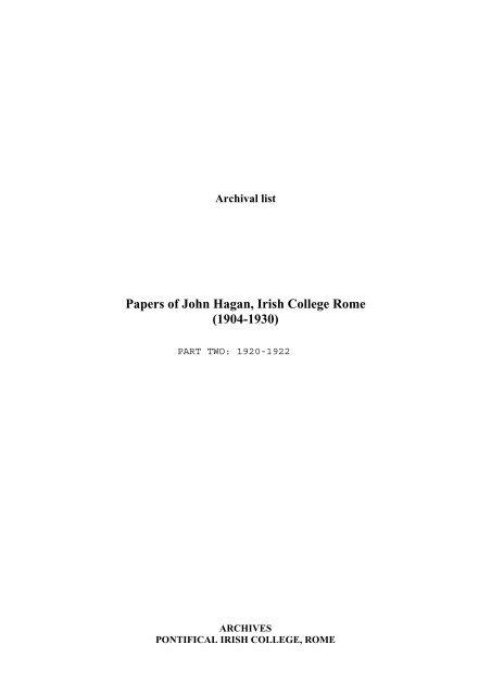 Papers of John Hagan, Irish College Rome (1904-1930)