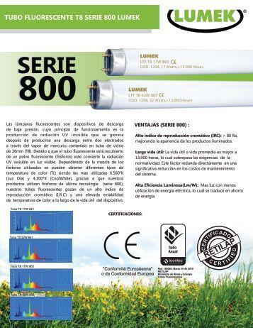 tubos fluorescentes  t8 serie 800 lumek