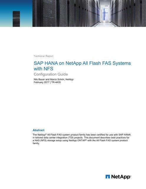 SAP HANA on NetApp All Flash FAS Systems with NFS