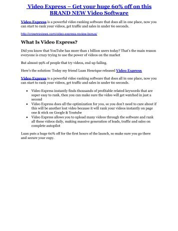Video Express Review-$32,400 bonus & discount