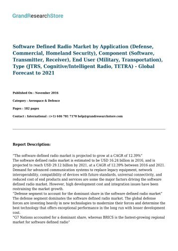 global software defined radios market solutions The global software defined radios market size, market share, application analysis, regional outlook, growth trends, key players, competitive strategies and forecasts, 2018 to 2026 report has.