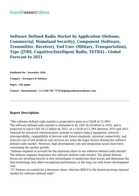 Software Defined Radio Market - Global Forecast to 2021
