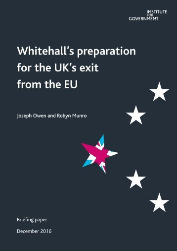Whitehall's preparation for the UK's exit from the EU