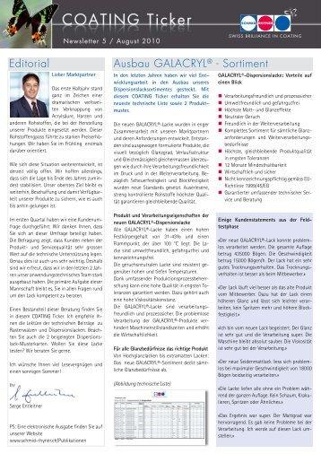 Editorial Ausbau GALACRYL® - Sortiment - Schmid Rhyner