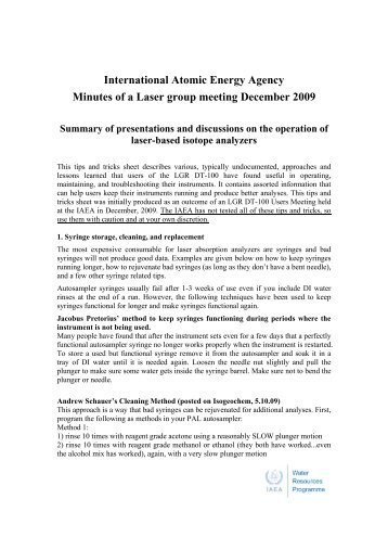 International Atomic Energy Agency Minutes of a Laser group ...