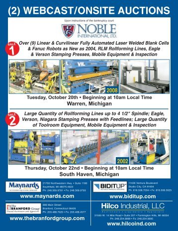 (2) WEBCAST/ONSITE AUCTIONS - Hilco Industrial