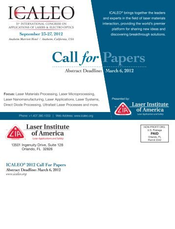 ICALEO® 2012 Call For Papers