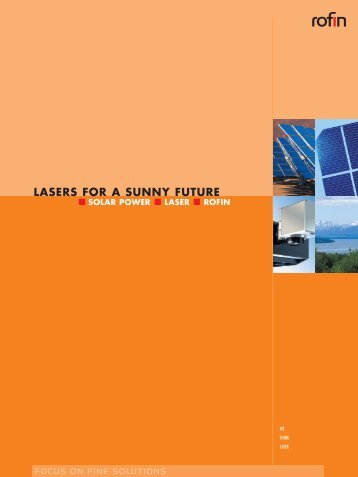 LASERS FOR A SUNNY FUTURE - Rofin