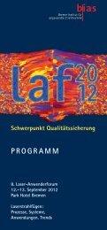 Schwerpunkt Qualitätssicherung - 8. Laser-Anwenderforum