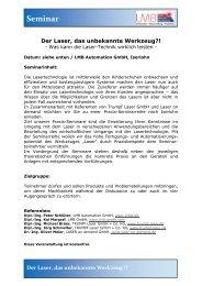 Seminar Der Laser, das unbekannte Werkzeug - LMB