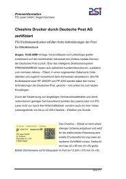 Cheshire Drucker durch Deutsche Post AG zertifiziert