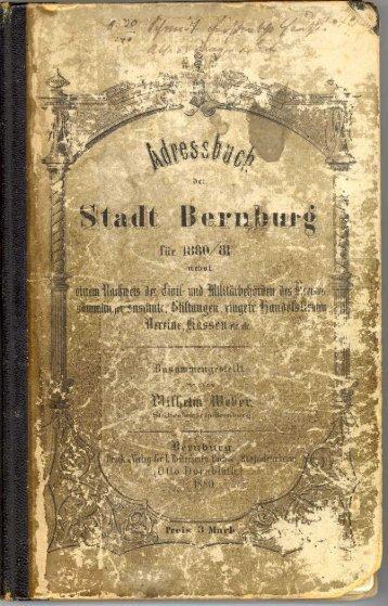 Adressbuch Bernburg 1880-1881