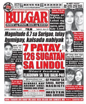 February 12, 2017 BULGAR: BOSES NG PINOY, MATA NG BAYAN