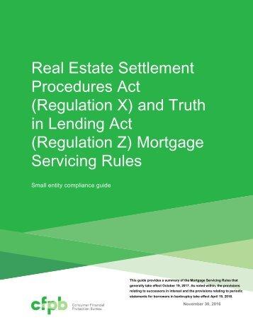 (Regulation Z) Mortgage Servicing Rules