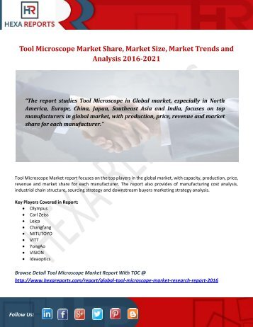 Tool Microscope Market Share, Market Size, Market Trends and Analysis 2016-2021