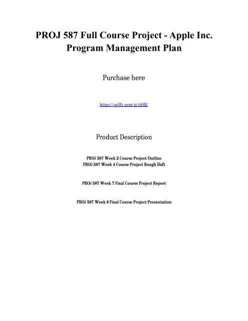 PROJ 587 Full Course Project - Apple Inc  Program Management