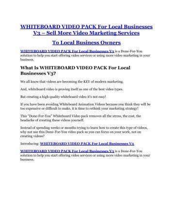 WHITEBOARD VIDEO PACK For Local Businesses V3 Review & HUGE $23800 Bonuses