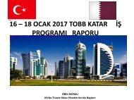 16 - 18 OCAK 2017 TOBB KATAR İŞ SUNUM