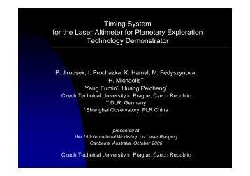 presented at the 15 International Workshop on Laser Ranging ...