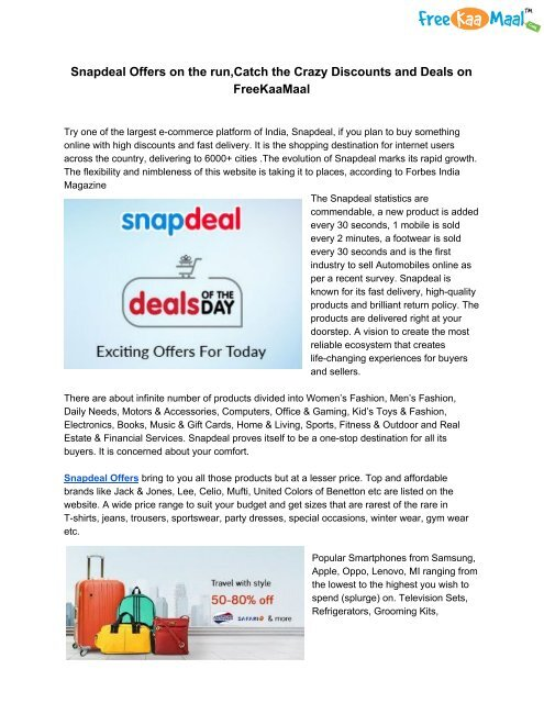 Snapdeal Offers on the run,Catch the Crazy Discounts and