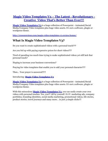 Magic Video Templates V3 review and Exclusive $26,400 Bonus
