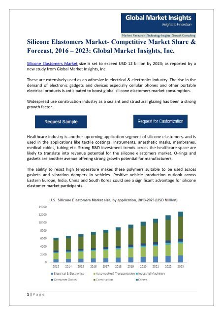 Silicone Elastomers Market PDF 2016 - 2023