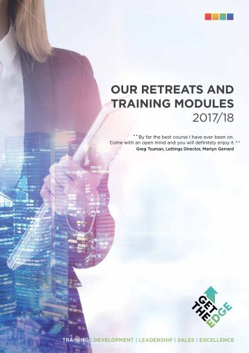 Get The Edge Retreats and Modules Training programmes 2017-2018