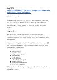 FIN 370 Week 3 Assignment Financial Ratio Analysis (Apple Corporation)