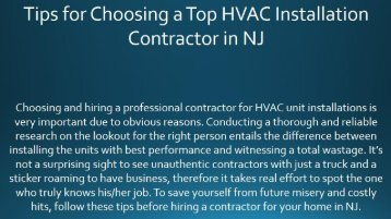 Tips for Choosing a Top HVAC Installation Contractor in NJ