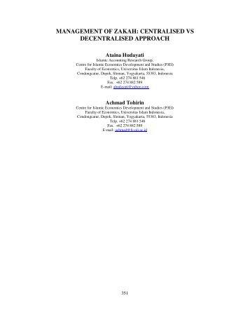 management of zakah: centralised vs decentralised approach - UKM
