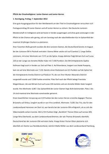 Tagesbericht 07. September - Verden DJM 2012