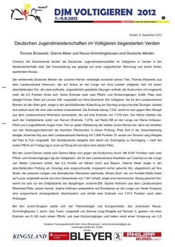Tagesbericht 09. September - Verden DJM 2012