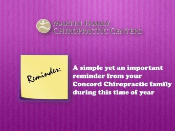 A Simple Yet an Important Reminder from your Concord Chiropractic Family