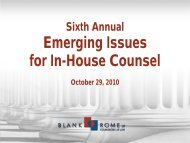 Emerging Issues for In-House Counsel - Blank Rome LLP