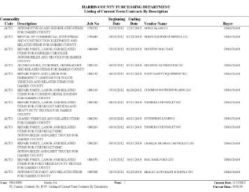 Current Term Contracts By Description - Harris County Parks