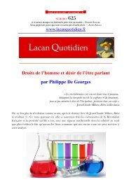 625 Droits de l'homme et désir de l'être parlant par Philippe De Georges