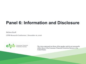 Panel 6 Information and Disclosure