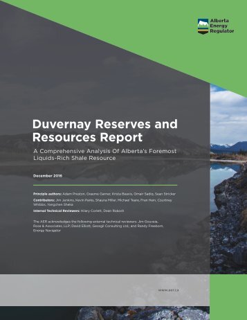 Duvernay Reserves and Resources Report