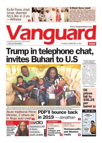 14022017 Trump in telephone chat, invites Buhari to U.S