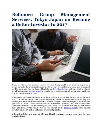 Bellmore Group Management Services, Tokyo Japan on Become a Better Investor In 2017