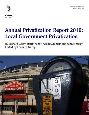 Local Government Annual Privatization Report 2010