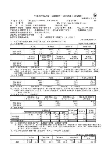 平 成 28 年 12 月 期 決 算 短 信 〔 日 本 基 準 〕( 非 連 結 )