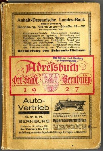Adressbuch Bernburg 1927