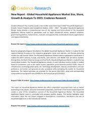 New Research – Global Household Appliances Market Insights, Regional Outlook And Forecasts 2023: Credence Research